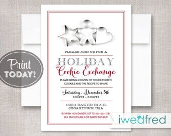 Cookie Exchange Invitation, Cookie Swap Invitation, Printable Invitation, Cookie Exchange Invite, Party, Instant Download #HOL101