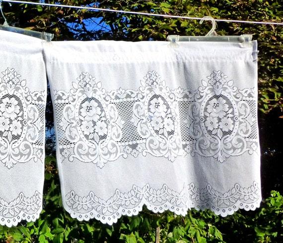 Vintage 3 Piece set Lace Café Curtains Rose Panels and Valance 2 Sets ...