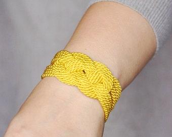 Yellow Bracelet, Knot Bracelet, Rope Bracelet, Sailor Knot Bracelet, Cord Bracelet, Rope Knot Bracelet, Nautical Bracelet,Nautical Knot