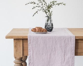 Pink Lavender Stone Washed Linen Runner