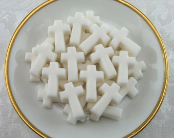 30 White Cross shaped sugar cubes for Confirmation, baptism, tea party, shower, party favor, wedding, bridal, Christian, Easter