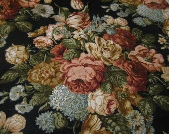 "1 1/2 Yds @ 56"" wide Waverly '5th Avenue'  black cotton linen floral upholstery"