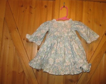 Vtg floral prairie Dress linen attached under slip eyelet trim blue pink floral giant ruffle full sweep infant 12-18 mos 14 in L free ship