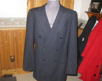 Mens Vtg  fuso dora Martzotto Italian 60s wool Navy double Breasted 38 Blazer  silver button front md in italy very Mod hippie 60s free ship