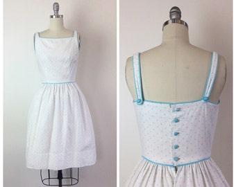 70s Blue and White Polka Dot Lanz Original Dress - 1970s Vintage Cotton Sun Dress - Small - Size 4