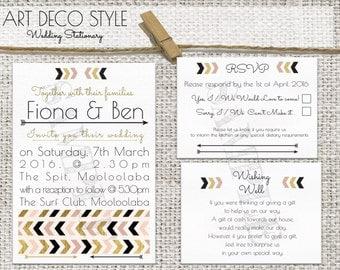 Printable Wedding Invitation Set - Gatsby/Chevron/ArtDeco Theme Pink/Gold/Black - Customisable