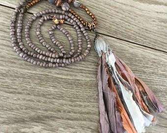Sari Ribbon Tassel Necklace - Twilight