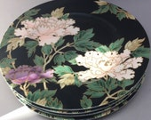 Set of 4 Fitz and Floyd Cloisonné Peony Plates 7 1/2 Japan