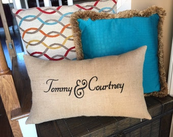 Personaized Burlap Pillow with removable insert and optional trim, Wedding pillow, Embroidered Pillow, His and Hers pillow, Couples pillow