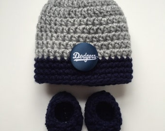 Los Angeles Dodgers baby hat and booties,  baby gift, Crocheted hat and booties, Dodgers Baby Shower Gift, Handmade baby hat and booties