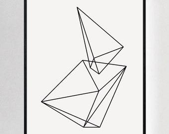Geometric Art, Black and White Decor, Abstract Prints, Modern Wall Art, Scandinavian Art, Modernist Decor, Minimalist Wall Art, Abstract Art