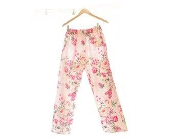 Floral Flannelette Sleep Pants ~ Women's Sleep Pants Pyjamas Pijama Ladies Sleepwear Loungewear Lingerie PajamasOrchard Rose