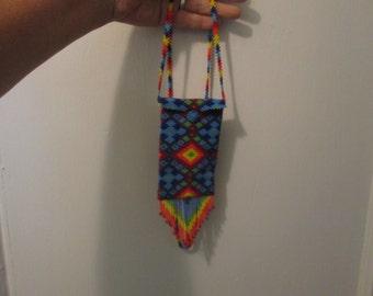 rainbow geometric southwest design medicine necklace pouch bag hand beaded fair trade seed beads