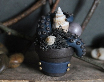 Plantacle Handmade Charcoal & Blue Planted Tentacle in Flower Pot