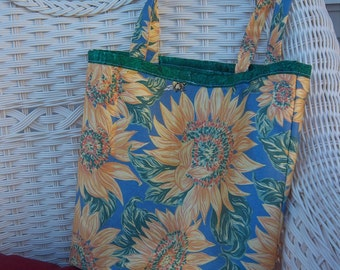 SUNFLOWER TOTE, beach bag, book bag, lined, cotton, 12x13, 24 in straps
