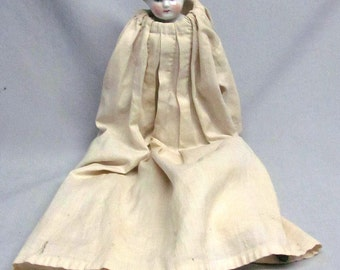 "Antique German HERTWIG China/Porcelain Head Blonde ""Dorothy"" Nanking Doll"