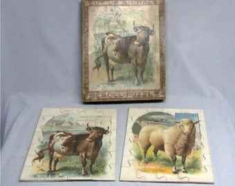 Two Rare McLoughlin Bros. Cut Up Scroll Puzzles, The Cow & The Sheep, Circa 1890