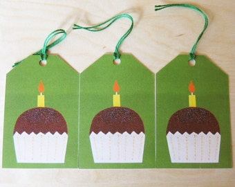 Happy birthday cupcake gift tags pack of 3