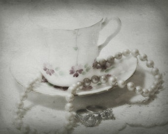 Vintage Teacups Diamonds String of Pearls, Vintage Photography, Teacup Still Life, Antiqued Photo, Antique Jewelry Photography
