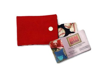 Mini wallet - credit card holder - card keeper - business card holder - keychain wallet - ID holder - keyfob - baseball - red accessories