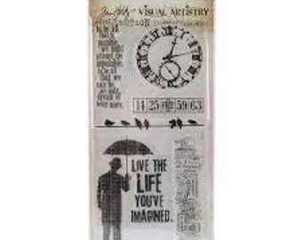 Tim Holtz LIFE'S POSSIBILITIES Clock Birds on a wire tickets Clear Stamp Set 1.cc02