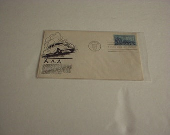 March 1952 AAA American Auto Assoc. on a Stephen Anderson black cachet FIRST Day of Issue STAMP #1007(Unaddressed on Front) Rare