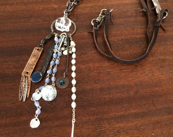 Handmade Ancient Relic Chain Necklace With Charms And Vintage Elephant RMN341