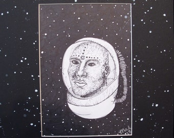 Bean Space Cadet by Maria Licciardi , ink drawing , framed