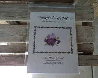 "Counted Cross Stitch Pattern ""Jackie's Purple Iris""  By:  The Silver Lining"