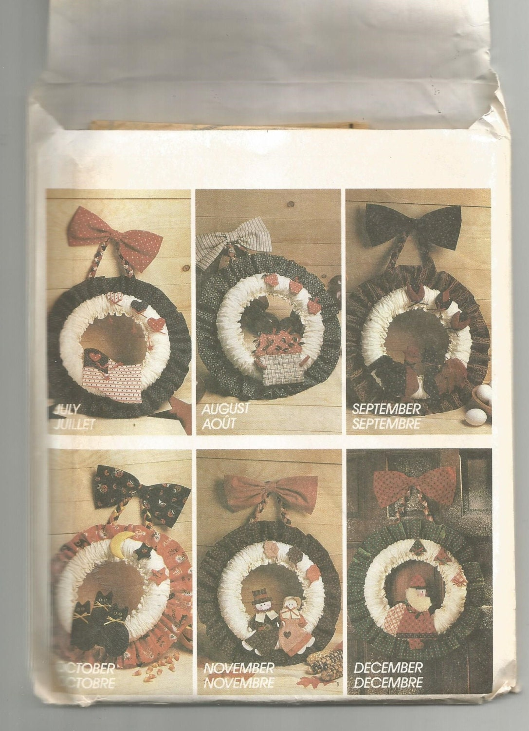 3881 Mccalls Crafts Sewing Pattern Seasonal Fabric Wreaths Decoartions Home Decor Vintage Uncut
