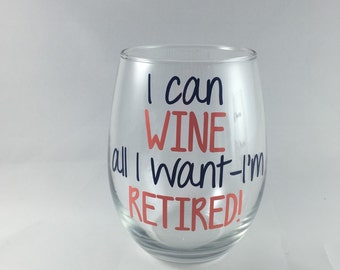 Retirement Gift - Funny Gag Gift For Coworker - Retirement Party - Gift For Women - Gifts for Men - Goodbye Gift - Funny Wine Glass