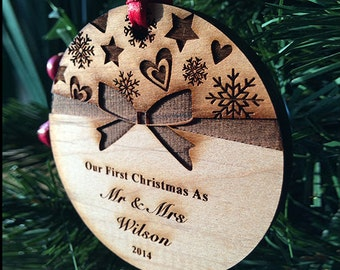 Our First Christmas Ornaments Personalized Christmas Ornament Wedding Gift Christmas Ornament Newlywed Christmas Gift - SKU #18E