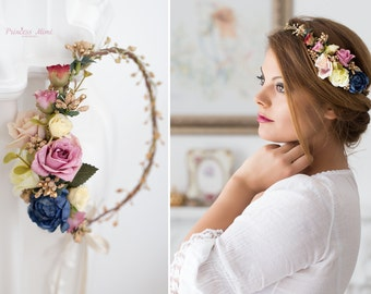Flower Crown, Wedding Tiara, Wedding accessories, Bridal flowers, Fairy Crown,Floral garland, Festival or Bridal Hair Wreath, Hair Flowers