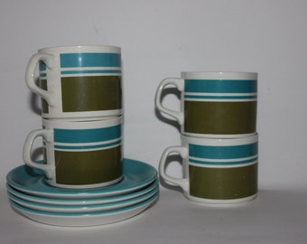 Set of four Elite Meakin cups and saucers, coffee tea set, blue green white stripes, retro