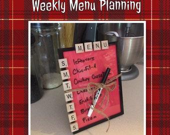 MENU, Dry Erase Board, Kitchen Decor, Kitchen Organization, 6x8 frame, Weekly Menu Planning,