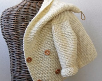 Hand knitted Handmade Baby Wool Sweater Coat Cardigan Hand knit Sweater Size 0-6 months