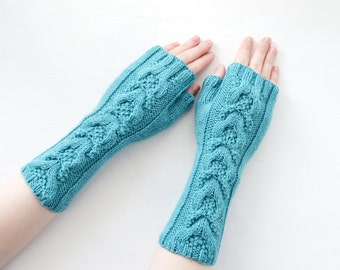 Turquoise Mittens (fingerless gloves, arm warmers)