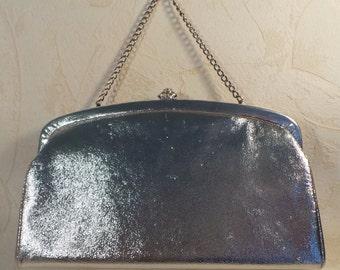 Vintage Silver Clutch, Retro Purse, Silver Metallic Purse, Vintage Wristlet, Purse 10x5, Silver Evening Bag, Clutch Purse, Wristlet Purse