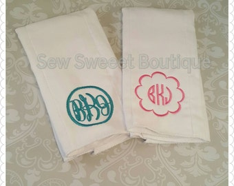 Sent of 2 monogrammed burp cloths