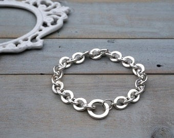 Chunky Sterling Silver Chain Link Bracelet / sterling silver link bracelet / sterling silver plain link bracelet / layering bracelet