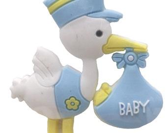 12 Flexible Blue Stork baby shower favors appliques - 4 pk of 3