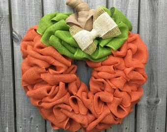 Pumpkin Burlap Wreath, Pumpkin Wreath, Fall Decor, Fall Wreath, Front Door Wreath, Halloween Decor, Halloween Wreath, Thanksgiving