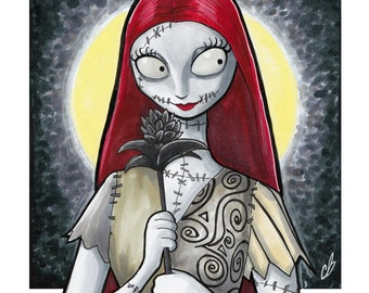 8.5 x 11 Sally The Nightmare Before Christmas Copic Mepxy Marker sketch