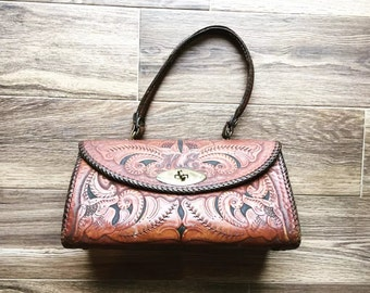 Vintage Brown Leather Tooled Handbag with Initals ME
