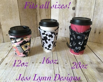 Custom coffee sleeve | Reusable cup cozy | Reversible cup cozy | Eco friendly | Made to order | Travel mug wrap | Coffee cup sleeve | Custom