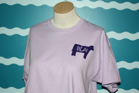 Monogrammed Heifer t-shirt - Personalized monogrammed shirt - Livestock heifer shirt