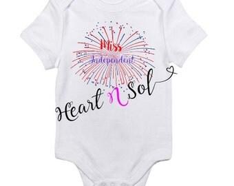 Infant bodysuit, Creeper, Patriotic bodysuit, Miss independent