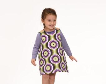 Retro pinafore, girls winter dress,