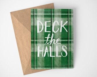 Deck The Halls Card, Traditional Christmas Card, Plaid Christmas Card, Christmas Card For Coworkers, Christmas Carol Card, Deck The Halls