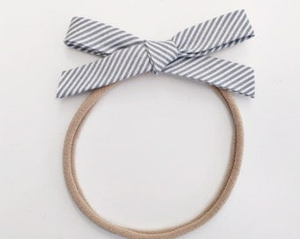 Gray Stripe Hand Tied Bow Nylon Elastic headband or Clip. Modern Simple Fabric Bow Baby Toddler Petite Bow
